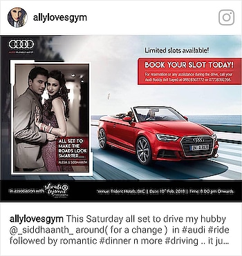 This Saturday all set to drive my hubby @_siddhaanth_ around( for a change )  in #audi #ride followed by romantic #dinner n more #driving .. it just keeps getting better #sportscar #A5#S5#couplegoals #AudiPreValentineDrive#loveisintheair #nmrk #thankyougod