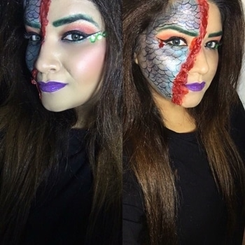 Halloween Is Almost here !! And I'm absolutely ready for it 💁🎃👻👾   The Ghost Mermaid ☠️  •••••••••••••••••••••••••••••••••••••••••••••••  Product Breakdown: @mynykaa Skingenius foundation stick #warmhoney + #creamybisque @maccosmetics Studio fix #powderfoundation  @maybelline V face duo stick @maccosmetics Extra dimension skin finish blush #beamingblush @lorealmakeup Le smokey eyeliner #antiquegreen for Brows  @lagirlcosmetics Beauty Brick Neons eyeshadow palette  @thebalm_cosmetics Schwing liquid eyeliner  @inglot_india Lashes 15S  For the mermaid look @inglot_india AMC pigments Check the #blog for Sfx/Fake Blood DIY   https://wingedeyegirl.wordpress.com/2017/10/12/halloween-look-the-ghost-mermaid  @doseofcolors Purple Rain Lipstick  @etude_official Glitter pearl powder . . . #makeup #makeupartist #makeupartistworldwide #halloween #roposotalenthunt #votenow #halloweenmakeup #ghostmermaid #wakeupandmakeup #sfx #fakewound #sfxmakeup #makeupjunkie #beautyblogger #makeupblogger #thatwingedeyeblogger #staytuned