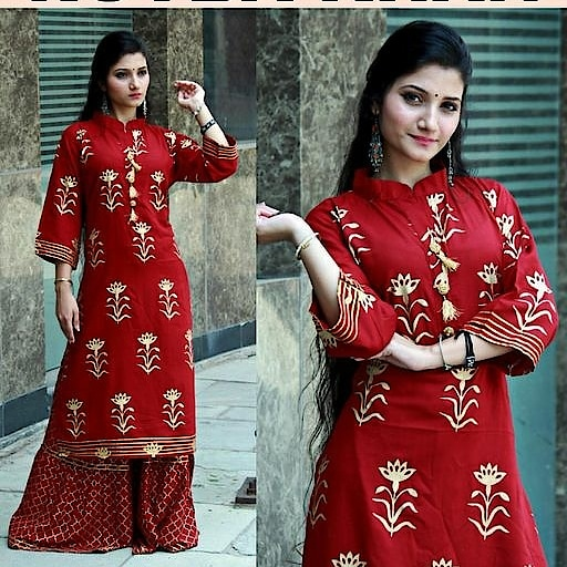 Checkout this hot & latest Kurta Sets Elegant Rayon Printed Kurti Fabric: Kurti - Rayon, Sharara- Rayon  Sleeves: 3/4th Sleeves Are Included  Size: Kurti - L- 40 in, XL- 42 in, Sharara - Up to 38 in  Length: Kurti - Up To 46 in, Sharara - 40 in  Type: Stitched  Description: It Has 1 Piece Of Women's Kurti And 1 Piece Of Sharara  Work: Printed Sizes Available - M, L,  price 1060/- only COD Available