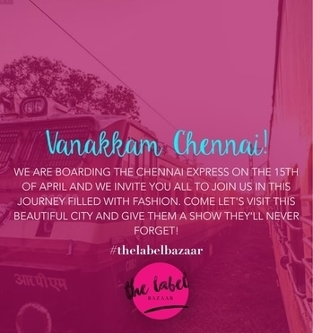 Travel in Vogue with team TLB as we board the Chennai Express on the 15th of April. Book your stalls now! #fashionx3 #fashion #threecitytour #tlbsquad #thelabelbazaar #teamtlb #tlbseason3 #exhibition #registernow #registrationsopen #sale #style #shopping #chennai #chennaiexpress