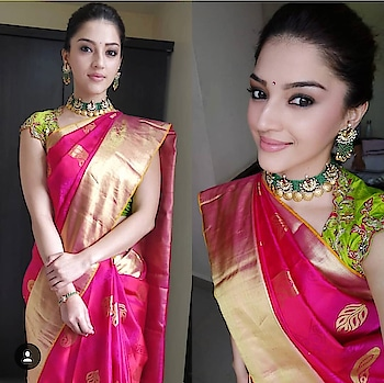 Mehreen pirzadaa spotted in our traditional attire for an event!  #archithanarayanamofficial #traditional #mehreenpirzada #pretty #6yardsofelegance #gorgeous #bright #colours #embellished #tollywood #actresses #sarees #blouses #spotted #styledby @lavanyabathina @mehreenpirzadaa