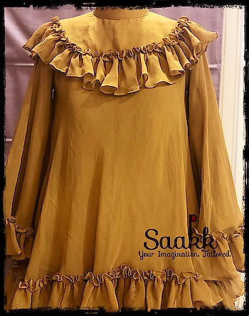 Fashion is like eating, you shouldn't stick to the same menu. #topwear #westernwear #mustard #summerwear #chiffonfrills #saakk #saakkbysakshi #saakkyourimaginationtailored