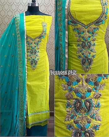 Rate:1250/-  *All time favorites ,super hit stock ready*  Top - chanderi Cotton with havy beats works and lining provided. *Perfect festive stock*.  Bottom - santoon contrast  Dupatta - Chiffon with self embroidery on it with havy border embroidery.