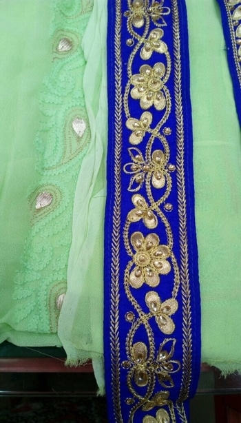 What about  this lace for  customised  dress for a customer . Designer  Chikan work for wedding  #chikankari