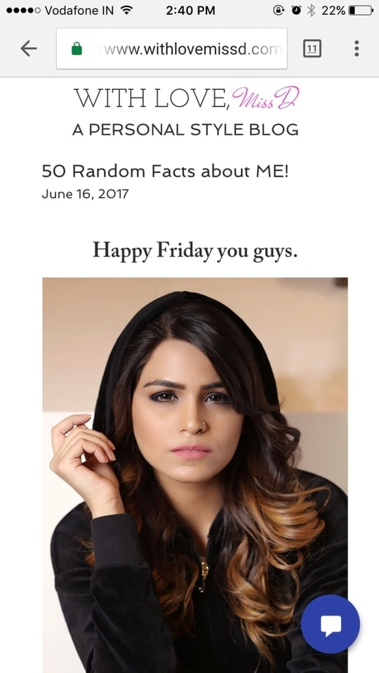 New post on the blog. 50 Random FACTS about me! Go read www.withlovemissd.com