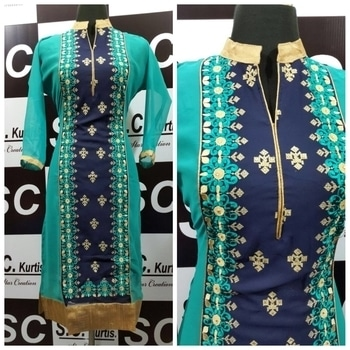 St SC georgette all over embroidery work size 40 Rs 750/-+$ 4 colours