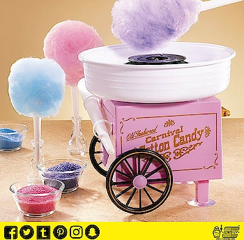 This easy to use Candy Floss Maker allows you to make fairground style  candy floss at home in minutes It spins sugar into bunches of fluffy  cotton candy. #DENFRA #COTTONCANDY #vintagetoy #flintstop