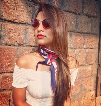"""Did I just hear RED is """"THE"""" color of the Fall? How about red shades?? New blog on your way SOOON😻 . . #fashion #fallfashion #fallcolor #red #redsunglasses #sunkissed #bandana #croptop #redlips #matheran #excursion #traveller #wanderlust #wanderer #forest #fashionblogger #instatravel #instafashion #punefashionblogger #puneblogger #indianfashionblogger #styleblogger #fashionista #fashionistha #styleaddict #fashiongoals #keepstyling #keepsmiling❤️"""