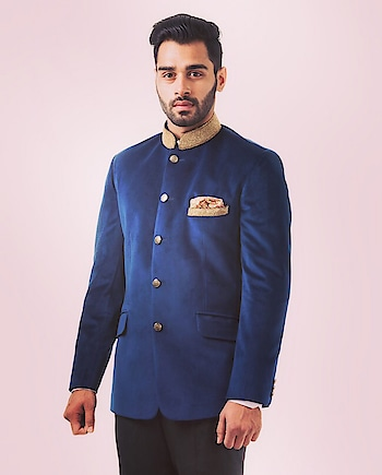 A velvet navy #blue bandhgala by Abhipri with intricate zardozi work and black #pants: https://www.indiancultr.com/designers/abhipri #menswear #dapper #mensfashion #India #IncredibleIndia #wow #amazing #artisan #want #neednow #inspiration #Indian #traditional #makeinindia #instalike #instadaily #photooftheday #follow #repost #awesome #style #shoppingonline #designer