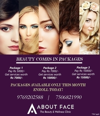 Never before Inaugural Offers!! Join in any of our packages and get a chance to get much more of the services! Get Gorgeous Ladies - Only at About Face #anewyou #antiwrinkle #antiaging #skinhealth #skincareluxury #skin #skinhealth #summer #skincare #skintips #women #wellness #laser #lookgood #lookamillion #laserhairremoval #lookgoodfeelgood #aboutfaceindia #dermatology #dermatologist #mumbai #offers #onlythebest #discount #careforyourskin #celebritystyle