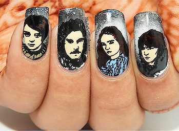 """DAY 10 🐺""""The Lone Wolf Dies, But the Pack Survives"""" - House Stark! Game of Thrones 👑 #12daysofchristmas . Products Used: . @unt_global Ready for Take-off . @nailstie NS-Game of Thrones 01 . @el_corazon_shop Kaliedoscope No. st-01 Black, IL-08, Iron Hard 418/15 . @juicecosmetics 49 Black, 50 White . Cemera Gel Stylist 45, 47 . @bornprettystore @bornprettynailart  BORN PRETTY No Smudge Top Coat Oil Nail Art Stamping Printed Care #27749 . . . #nailsartm #roposo #naildesignideas #nailart #nailartforbeginners #glamnails #nailarttutorial #ropsoblogger #soroposo  #nailartvideo #nailblogger #ladies  #youtubevideo #nails #trendingnow #trendingonroposo  #nailartcompilation #roposonails #fashion #diy #youtubechannel #bloggers #gameofthrones #got #jonsnow #aryastark #sansastark"""