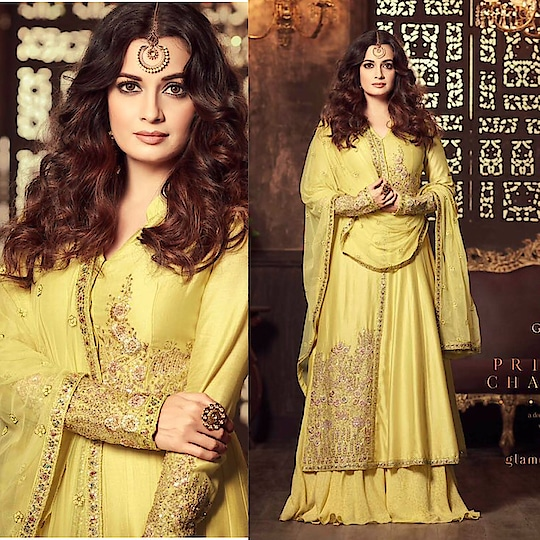 Dia Mirza Yellow Umbrella Palazzo Suit  Product code - FCSS1492 Available at www.fashionclozet.com  Watsapp - +91 9930777376 Email -  info@fashionclozet.com Or DM for enquiries  #gotapatti #mirrorwork #weddingcollection #couture #bridalcouture #bridalfashion #stylishbride #weddingshopping #fashionable #festivecollection #stylishwear #ethniccollection #bridaldress #mumbaifashion #chandigarhfashion #partywear #teej #dubai #uae #qatarall #suit #georgette #embroidered #patchwork #occasion #worldwide #drashtidhami #shipping #uk #diamirza