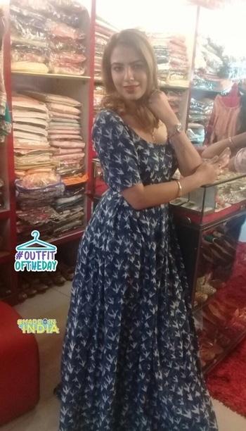 Indigo print cotton dress👗..https://m.facebook.com/theredvelvet9 #madeinindia #outfitoftheday