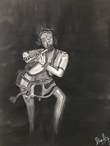Inspired by @keshav61 I tried water colors for the first time and DAMN!! I found it tougher than acrylics!!   I truly struggled #painting this one and I wanted to share it even though it doesn't look that good.   I am trying and it's all a part of my learning process.   #Krishna #JaiShriKrishna #artistsonroposo #painters