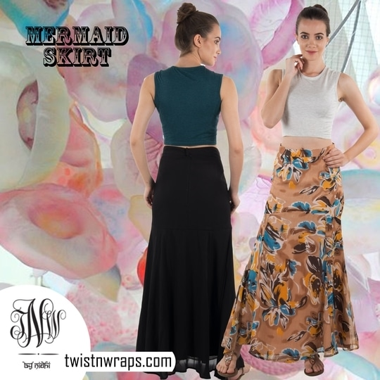 """Mermaid Skirt"" Shop wide variety of skirts with #twistmwraps #maxiskirt #stylish #fashionable #stylishme #fashionguide #fashiongram #instafashion #roposolove #fashionblogger  #mermaidskirt"