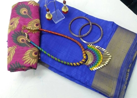Saree material TASAR  shilk  Blouse material satan jecod   Saree set with nekles and latcan cangan 2 pic  Hurry stock limited #tusharsilk