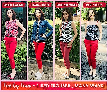 Outfit Ideas - 1 Red Pants , Many Ways! #Dressup #dressdown #becreative #economical #practical #fashionalblogger #imageconsultant #imagecoach #tinawaliaIC #ropo-style #ropo-fashion #tipsbytina #fashiontips #fashionexpert #styletips #watchthisspaceformore😊