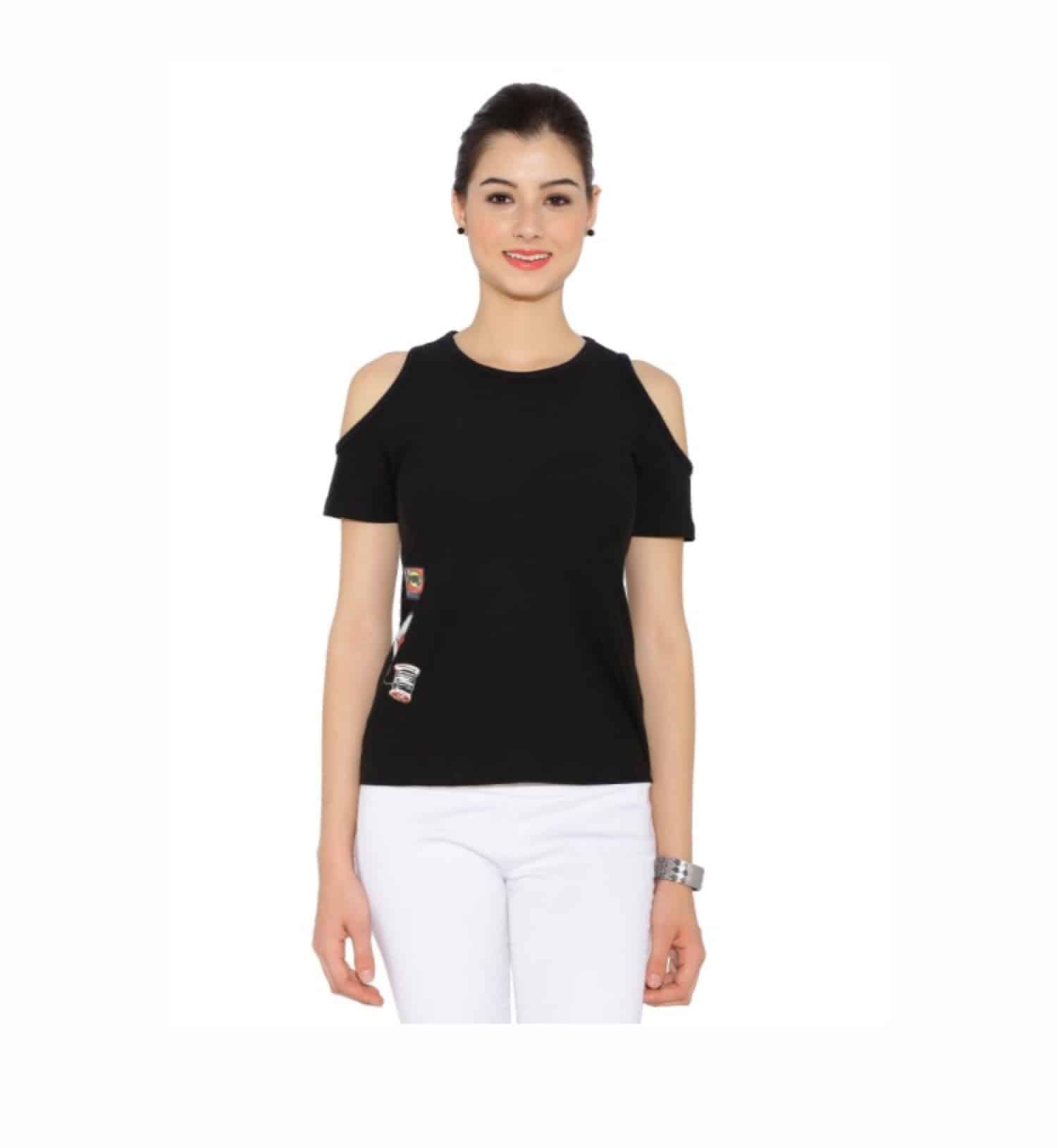 Flat 20% off Use Code -- SUMMER20           After Discount ## ₹560 only                           #blacktop #blackootd #coldshouldertop #trendyclothes #onlineshop #onlineshoppinginindia