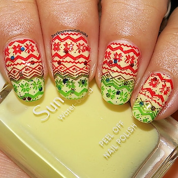 Ugly Christmas Sweater Nail Art🎄  I used: 🌺Yellow polish from @minisosg  🌺Glitter polish from local shop  🌺Red Stamping Polish from @nicolediaryofficial  🌺Green Stamping Polish from @bornprettyofficial  🌺Stamping Plate BeautyBigBang14  🌺Silicone Stamper from @beautybigbangs  🌺Top coat from @bornprettystore    🔅🔅🔅🔅🔅🔅🔅🔅🔅🔅🔅🔅🔅🔅🔅🔅 🎁Use ISH10 for 10% discount on https://www.beautybigbang.com/ 🔅🔅🔅🔅🔅🔅🔅🔅🔅🔅🔅🔅🔅🔅🔅🔅   🎥 Full Tutorial is up on my YouTube channel, link is in the bio👆 Go watch it, show some love ❤️ and don't forget to hit the Subscribe button 😌  #designyournailsbyisha #ishanailart #nailart #naildesign #nails #nailswag #nailfashion #beautifulnails #uñas #nailmagazine #naildesigns4all #potd #notd #christmasnailart #uglysweaternailart #gradientstampingnails #2019christmasnails #beautybigbang #roposonails #soroposo #roposofashion #roposoblogger