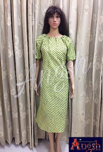 #kurti #leheriya #gold #aline #necklinedori #pastelshade #green #angsh #jaipur #designer #different #seasonalwear  Dm to order😊