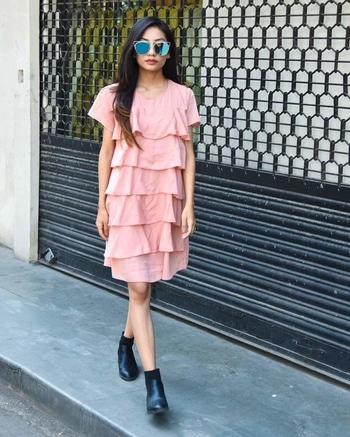 #pinkdress #yellowdress #ruffledress #womendress #western-dress #casualdress #womenwear  Nude Pink ruffle dress,  Size small and medium  Fabric-blend with polyester  Price - ₹1199+$ To order DM OR WhatsApp-9157500031
