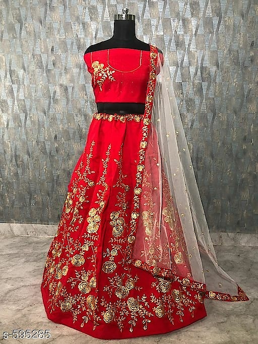 Ladies Embroidered Taffeta Silk Lehengas Vol 2(Replica) Note: Products from this catalog are replica and could have quality issues    Fabric: Lehenga - Taffeta Silk, Blouse - Taffeta Silk, Dupatta - Net, Inner - Satin Silk    Size: Lehenga Waist - Up To 36 in To 42 in , Blouse - 44 in , Dupatta - 2.20 Mtr    Length: Up To 40 in    Type: Semi Stitched    Work: Embroidery Work    Dispatch: 2 - 3 Days
