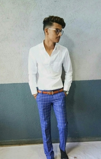 #new  #formal wear   #simplewhite #shirt #chex  #blue #pants  #brandedwatch  #bestylish