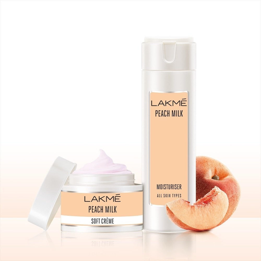 Dry skin this winter? The Lakmé Peach Milk Moisturiser is the perfect lotion for your body and the Soft Cremé is all you need for your face this winter! #Lakme #LakmeIndia #Moisturiser #PeachMilk #Winter #Skincare #SoftSkin #DrySkin