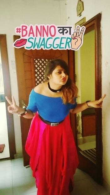 Wedding season is full of confusion... specially about outfits.... you know girls have dat habit of not repeating the clothes in front of same people ;)  I m not different.. ;) :D after trying dozens of clothes finally merged my cold shoulder top with dhoti style skirt... and belt and choker are just cherries on top of cake... ;) #yaarkishaadi #desi #indowesternlook #skirtlove #coldshoulder #chokerlove  #fashionblogger #fashion #indianfashion  #BannoKaSwagger