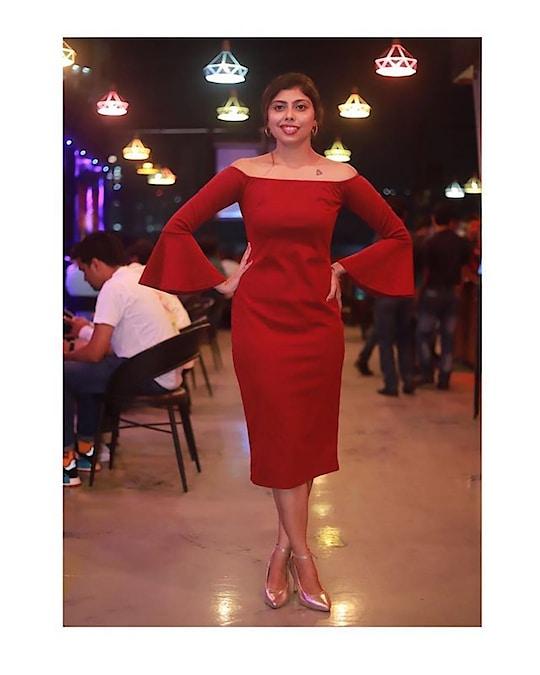 """Happiness looks gorgeous on me"" #selflove #red #redaffairs #romwefashion #penthouzz #favoritedress #roposo #soroposolove #times#mumbai"