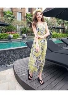YELLOW PRINTED CHIFFON MAXI DRESS