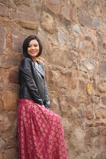 Experiment this look: Team your leather jacket with an Indian skirt . Trust me You will be noticed 😍. #roposotalenthunt #fashionblogger #fashionbloggerstyle #woman-fashion #ethnicity
