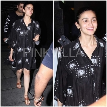 Yay or Nay : Alia Bhatt in Masaba. Alia Bhatt was photographed outside a restaurant last night.She did a boho-inspired look with a black elephant print dress by Masaba. Hair tied up and a pair of tan flats rounded her look.Your take on her off-duty style?