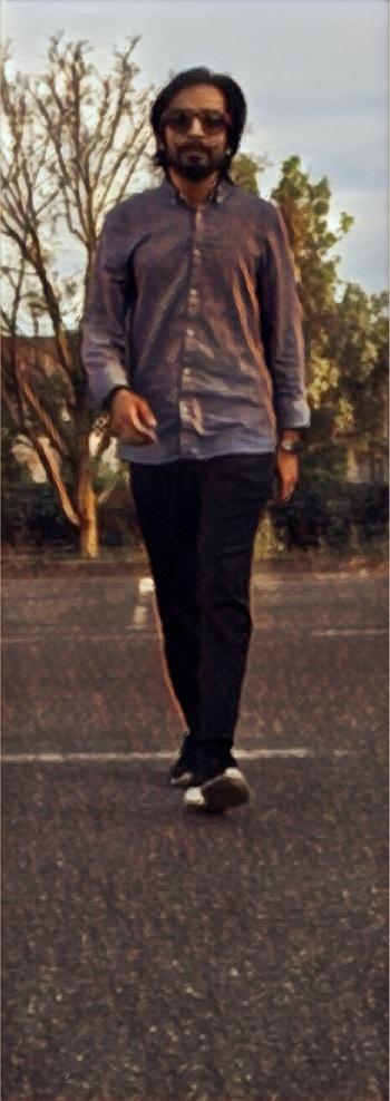 #poster#model#woodglasses#glasses#walk#roposolook#roposo#classy#longhair#gabru#fashion#blackandblu#shirt#pent#nike