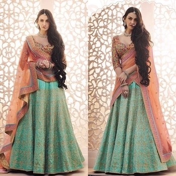 Set Your Style Trend With This Fusion Concpted Lehengha Choli Of Rama Colored Lehengha On Dupion Handlook Silk Fabric With Badla Zari Work Done On It And Multi Colored Threadwork Done Blouse To Enhance Its Beauty Whereas Pallu Comes In Peach Colored Net With Lace Border.  Product code - FCL410 Available at www.fashionclozet.com  Watsapp - +91 9930777376 Email -  info@fashionclozet.com Or DM for enquiries.  #redlehenga #sabyasachi #sabyasachibride #sabyasachimukherjee #lehenga #weddinglehenga #bridallehenga #pheralook #bridallook #indianwedding #palacewedding #falaknuma #falaknumapalace #weddingsutra #bridalshoot #bridalmakeup #bridalhairstyle #desibride #designerlehenga #indianbride #bridalfashion #bridesmaids #desibridesmaids #candidphotography #mehndi #southasianwedding #bridesofindia #destinationwedding #twirl #twirling