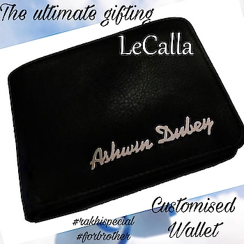 Customized Men's wallet- The ultimate gifting for Rakhi.   #LeCalla #Rakhispecial #offer #dmfordetails #jewellery #intrend #instalove #indiagram #instajewellery #ootd #pendant #personalizedgifts #customised #menfashion #mensaccessories #wallet #leatherwallet #buynow #roposo #roposolove #roposotalks #unique #uniquegifting
