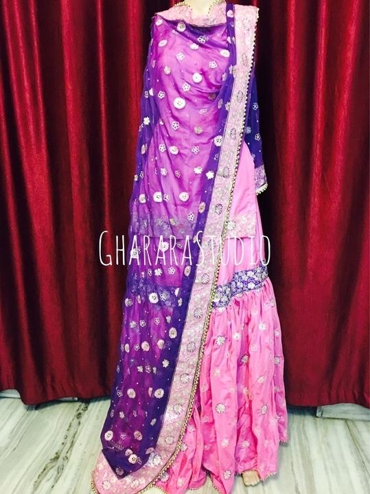 Silk gharara in pink and purple combination with full handwork embroidery.  Whatsapp at 9971865919 for enquiry.   #gharara #ghararastudio #ghararastudiobyshazia #georgettegharara #georgette #ghararah #ghararas #ghararalove #ghararasale #fashionblogger #instafashion #fashiongirl #fashiongram #fashiondiaries #bridalgharara #partygharara #ghararafashion #buyghararaonline #orderonlinegharara #ghararadesign #ghararadesigner #ghararabeauties #fashionpost #muslimwear #muslimbride #muslimahfashion