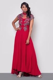 Dozakh High Low Dress #trendalert #stylein #marroonlove  #ethniclook #shopnowonline #musthave #designerwear #datemycloset #saybyetobuy #luxurywear #luxuryrentals
