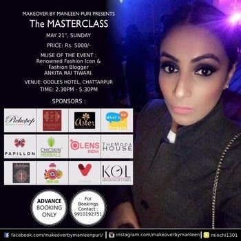 We are SOLD OUT!! Bookings closed 💃🏻😍😍Super happy and exited to introduce our new sponsors!!  1. What's Up Gurgaon: With over 1,00,000 followers on Facebook and other portals, super excited to have them cover our event on writeups and live feed!  2. Kingdom of lashes : Highest quality of handmade human and mink hair lashes! 100% cruelty free. 3. Moda House: Super cute vanity pouches to store all that yummy makeup!   Thanks everyone for the overwhelming response and support! It means a lot 🙏🏻😍😘 See you at our class!!   1.