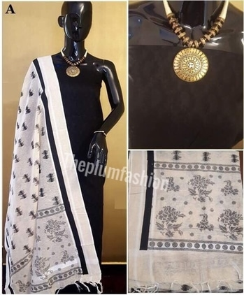 Abve all are OUR collections  *50 + model designs Avble*  Price details Code A - Rs 1600/- Code B - Rs 1800/- Code C - Rs  2100/- Code D - Rs 2500/-   Shipping free    *💯excellent quality*  Material chanderi cotton silk mix   Top 2.5 meters  Dupatta 2.5 meters  *NO BOTTOM PROVIDED* No colour bleeding..Only hand wash...  #fashionpost #fashionstore #fashionaddict #fashionstyle #clothesaddict #ethnicwear #ethnicfashion #weddingfashion #indianfashion #shoponline #shopoholic #styleaddict #onlinestore #theplumfashion