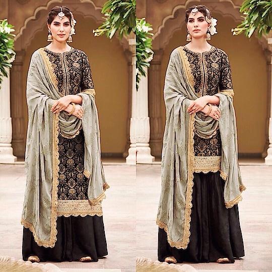 Black Jacquard Silk Gharara Suit  Product code - FCSS1901 Available at www.fashionclozet.com  Watsapp - +91 9930777376 Email -  info@fashionclozet.com Or DM for enquiries  #indianwedding #desiwedding #bride #desibride #indianbride #kritikakarma #ghararasuit #lehenga #bridallehenga #lehengacholi #weddingfashion #bollywood #indianfashion #reception #bridesmaidsdress #bridalfashion #styleguide #weddingdress #weddingblog #bridalwear #weddingwear #desicouture #pakistanistyle #pakistaniwear #asianwear #pakistanibride #embroidery #pakistani #threadwork #southasianbride