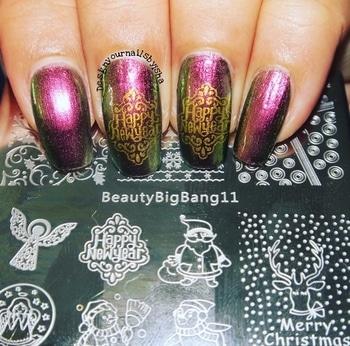 New year nail design 🎊🎊🎊 #happynewyear2018 #hny #newyearnails #partynailart #goldennails #chromenails #stampingnailart #beautybigbang #merrychristmas #xmasnailart #christmansnailart #beautybigbang11 #roposonails #soroposo #ilnpnostalgia #bornprettystore #nailblogger #roposoblogger #nails #nailart #naildesign