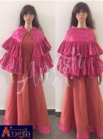 #gown #party #liningdupian #poochu #brocade #frills #border #trending #stylish #angsh #jaipur #designer  Dm to order😊