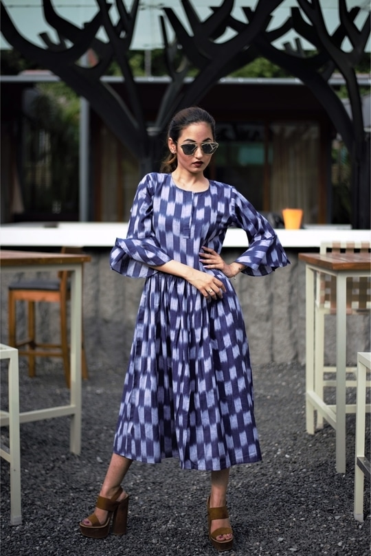 Ikat Day Dress with Ruffle Sleeves on @kashvichauhan is a saving grace..!!! #From #work to #party or #hi-tea - we are good to go!! Visit our website to get your #hands on this Ikat Day Dress!!! @roposobusiness @roposocontests @roposotalks @roposodesignbox @roposocampusconnect  #ikatcollection
