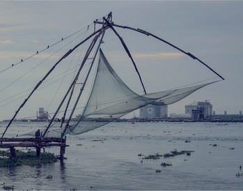 I have been wanting to visit Fort Kochi for a long time now! And ever since my talented artist cuz @devenbane, who also participated in the Kochi-Muziris Biennial some years back, described the city to me, I have been even more eager to see the sights myself ! Including these cantilevered Chinese fishing nets.  ____________________  If you look closely, you can see a man sitting at bottom left of the picture.  That kind of scales how humongous these fishing nets are !! ____________________  #fishingnets #fortkochi #travelstories #kerala #incredibleindia #storiesofindia #instaindia #indiagram #indiaclicks #india_ig #instatravel #natgeoyourshot #travelinspiration #wanderlust #chinese #fishingnet #seaside #keralagram #landscapephotography #mypixeldiary #soi #travelbloggerindia #mumbaitravelblogger #mumbai_igers #roposo-good #roposoblogger #soroposoblog #travelersnotebook #soroposoblogger