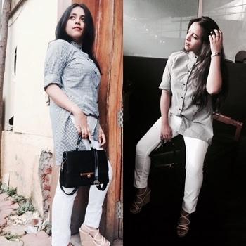 #customised #checksshirt #whitedenim #leecooper #aldoslingbag #tommyhilfigerwatch #H&Mheels💫