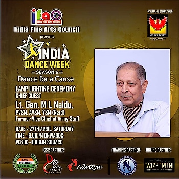 Moment of pride for us...   Former Vice Chief of Army Staff, Lt Gen ML Naidu, PVSM, AVSM, YSM (Retd)... will Light the inaugural lamp of our National excellence award winning festival.... 'India Dance Week - Dance for a Cause' season 6.... presented by India Fine Arts Council at Phoenix market city Kurla.. on 27th April  Along with the legendary Shri Bappi Lahiri ji...   This year thru 'Dance for a Cause' we are paying tribute to the indian army and their equally courageous families and supporting Fauji foundation of India 🇮🇳...   Thk u @mayanklalpuria .. Haresh Mehta.. Rajesh Srivastav.. @uma.rele.. villoo bharucha.. @shalini_bhargava.. Brian Fernandes.. @deshreyas.. @ankita.dolawat.. Jameel Shah.. @btdvipin Vipin Kushwaha.. @nazimwizetron for making this happen..  Come be a part of this one of its kind dance festival and meet the two legends...   So come n witness the dance extravaganza.. only at #phoenixmarketcity #dance #mumbai #danceshow #danceevent #dancers #legend #indiadanceweek #danceforacause #sandipsoparrkar #indianarmy #saluteindianarmy #army #indianarmy #courage #becourageous #family #dancechallenge #indiafineartscouncil #indiadanceweek #season6