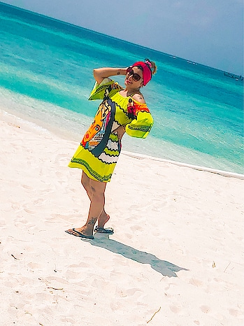Last day in Maldives.. I so don't wanna go back!!!!! Colorful dress by @shein_in @sheinofficial  Use code 'DEEPTIGABA1' to get discount on Shein.com #vacationmode #beachlife #beachdress #beachoutfit