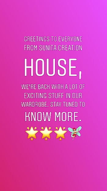 Dear followers & well-wishers, stay connected with us... Some new & exciting stuff landing in your closet😉 . #sunitacreationhouse #wardrobestylist #newarrivals #classiccreations #latestfashion #staytuned