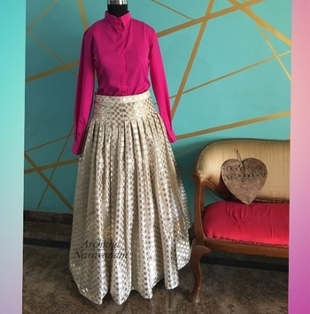 Brighten up the festivities in our silk collared shirt and handcrafted benarasi skirt ! #archithanarayanamofficial #festive #silk #collared #shirt #benarasi #skirt #handcrafted #offwhite #hotpink #bright #stylish #trendy #smart #dressup #accessorize #yourway #fashion #fun #love